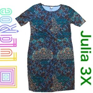 NWT LuLaRoe Colorful Julia Dress 3XL